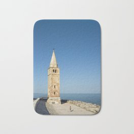 Bell tower and Sea, Caorle, Italy Bath Mat