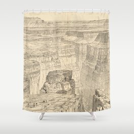 Vintage Pictorial Map of The Grand Canyon (1895) Shower Curtain