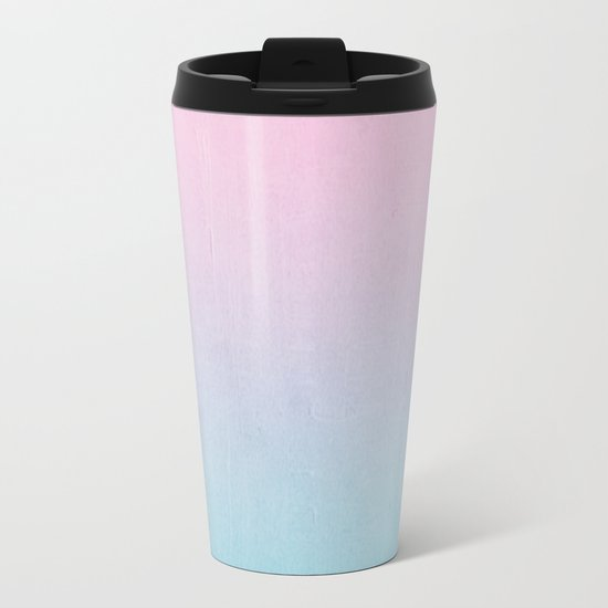 Dream fade pastel tropical chill painting abstract art for minimalist Metal Travel Mug