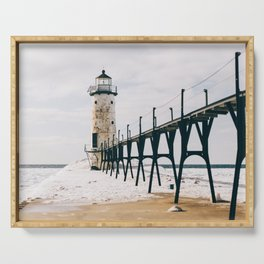 Manistee Lighthouse In Winter Serving Tray