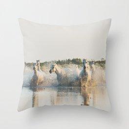 runaway horses ... Throw Pillow