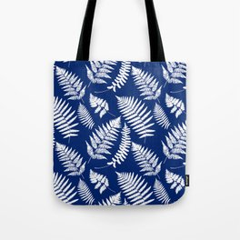 Woodland Fern Pattern, Cobalt Blue and White Tote Bag