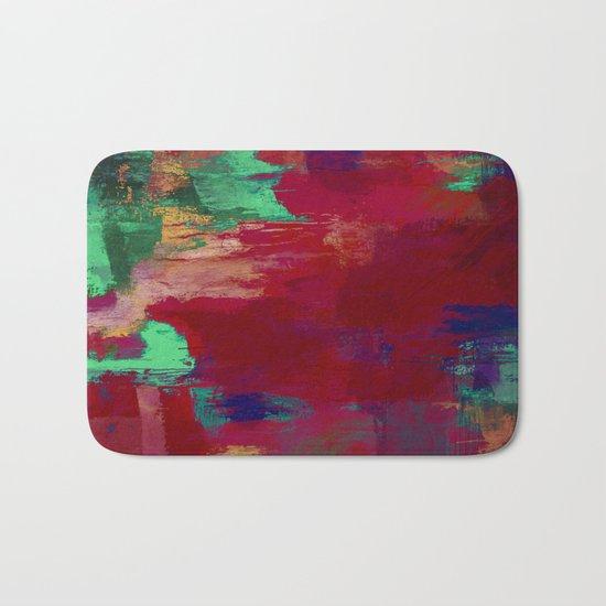 Crimson Overflow - Abstract, red, crimson, green, purple oil painting Bath Mat