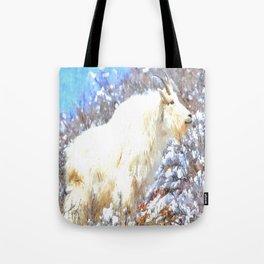 Mountain Goats In the Alpine Wyoming Mountain - Rocky Mountain Goat Tote Bag
