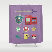 video games Shower Curtains featuring video games by Black