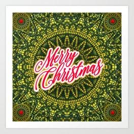 Merry Christmas Lace Art Print
