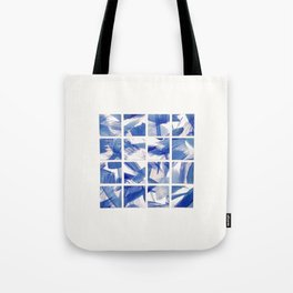 Chinoiserie Blue and White China 16 Square Tile Tote Bag