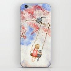 Girl on a Sakura Tree Swing with Cats iPhone & iPod Skin