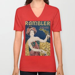 Vintage Rambler Bicycle Woman with Graphic Pops of Color Unisex V-Neck