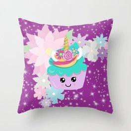 Unicorn Cupcake Sparkles Background Throw Pillow