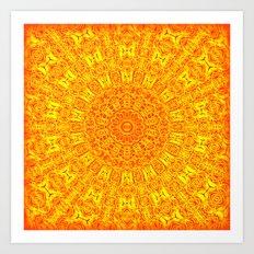 Yellow Earth Mandala Art Print