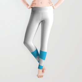 Simply hand-painted teal stripes on white background -Mix & Match Leggings