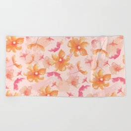 Pink Coral Floral Beach Towel