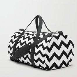 Simple Black and white Chevron pattern Duffle Bag