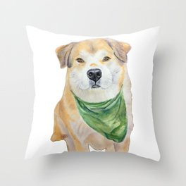 Cute and Soft dog named Bear - watercolor Throw Pillow