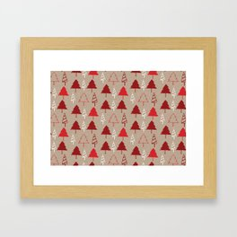 Christmas Tree Red and Brown Framed Art Print