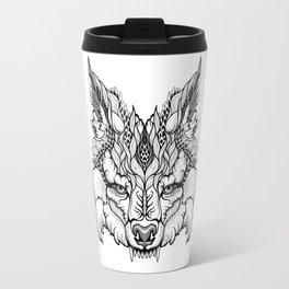 WOLF head. psychedelic / zentangle style Travel Mug