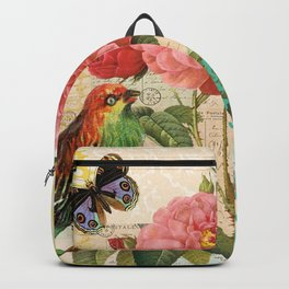 A rose with a bird and a butterfly Backpack