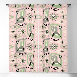 Siamese Cat Abstract on Pink Blackout Curtain