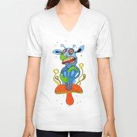 mushroom V-neck T-shirts featuring mushroom by Zura