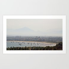 Boat Bay With Bird Art Print