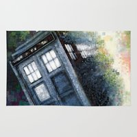 dr who Area & Throw Rugs featuring Dr. Who Tardis by Mercenary Art Studio