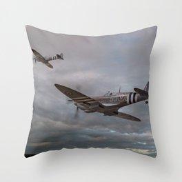 126 Squadron Spitfires Throw Pillow