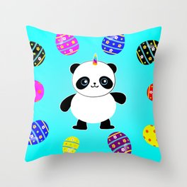 Happy Easter Pandacorn Throw Pillow