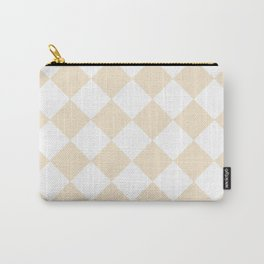 Large Diamonds - White and Champagne Orange Carry-All Pouch