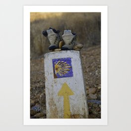 Camino Route Marker and Old Boots Art Print