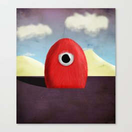 Red Fluff Monster Canvas Print
