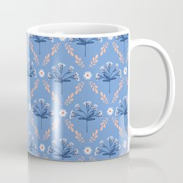 Blue Peach Floral Lattice Coffee Mug