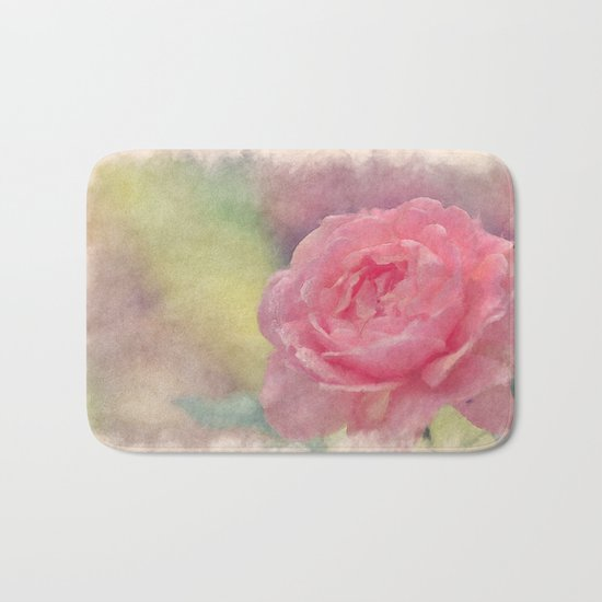 Pink Romantic rose - Watercolor floral Illustration- Flowers Bath Mat