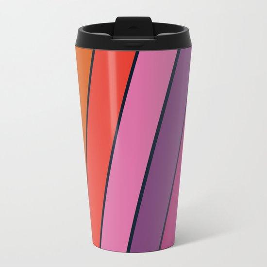 Groovy - retro throwback 70s 1970s stripes beach 70's vibes minimal art Metal Travel Mug