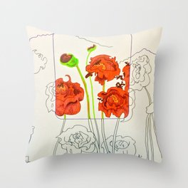 Perspective on Flowers Throw Pillow