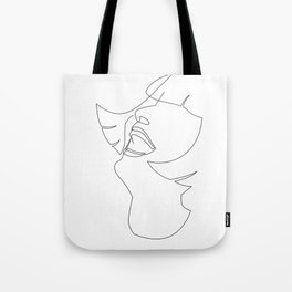 Laughing Flapper Line Art Tote Bag