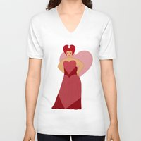 moulin rouge V-neck T-shirts featuring Rouge by KH Illustrations