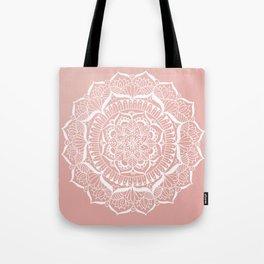 White Flower Mandala on Rose Gold Tote Bag