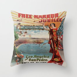 Vintage poster - Free Harbor Jubilee Throw Pillow
