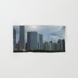 Chicago Skyline, Cloudy Day in Chicago Hand & Bath Towel