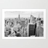 manhattan Art Prints featuring Manhattan by Sébastien BOUVIER