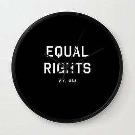 Equal Rights - WY, USA (Black Motto) Wall Clock