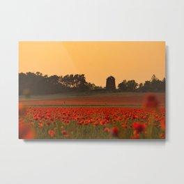 Red Poppys Field Weadow Landscape Metal Print