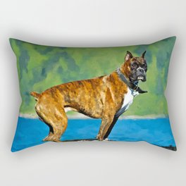 Boxer dog Watercolor Digital Art Rectangular Pillow