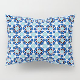 Islamic geometric Moroccan pattern in blue Pillow Sham