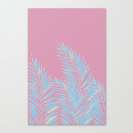 Palm Leaves Blue And Pink Canvas Print