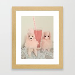 poodles and pink bubbly Framed Art Print