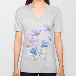 purple cosmos flowers in bloom Unisex V-Neck