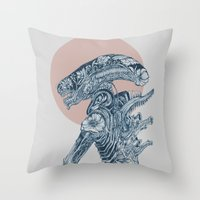 xenomorph Throw Pillows featuring Floral Alien by Marie Toh