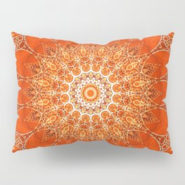 Detailed Orange Boho Mandala Pillow Sham